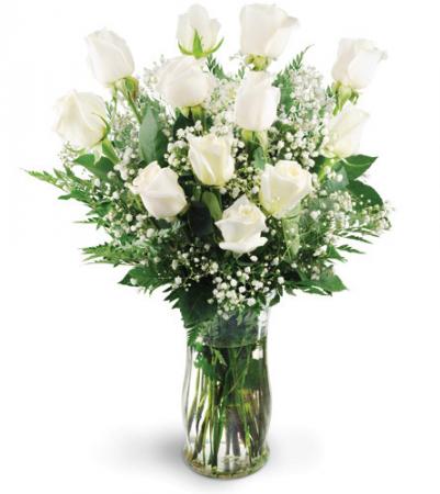 Classic dozen white roses All around floral arrangement