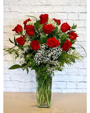 CLASSIC DOZEN WITH BABY BREATH DOZEN RED ROSES in Corpus Christi, TX | Golden Petal Florist