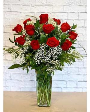 CLASSIC DOZEN WITH BABY BREATH DOZEN RED ROSES in Corpus Christi, TX   Golden Petal Florist