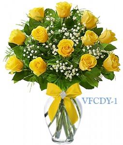 Classic Dozen Yellow Floral Arrangement