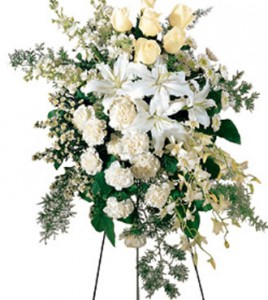 Classic Elegance all white standing spray in Northport, NY | Hengstenberg's Florist