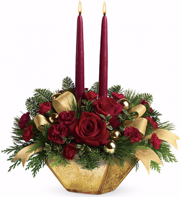 Classic Gold and Red Table Centerpiece