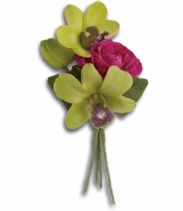 Classic Green Orchid Boutonniere Prom