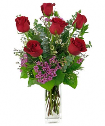 Classic Half Dozen Red Roses in a Vase (See Note) Roses, Vased