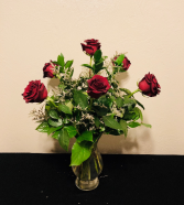 Classic Red Half Dozen Rose Arrangement