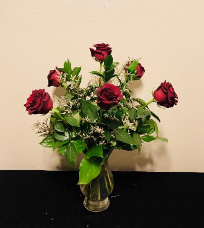 Classic Red Half Dozen Rose Arrangement
