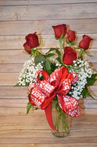 Classic Half Dozen Rose Arrangement, Red