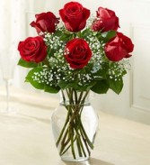 Classic Half Dozen Vase Long Stem Red Roses with Baby's Breath and Greenery