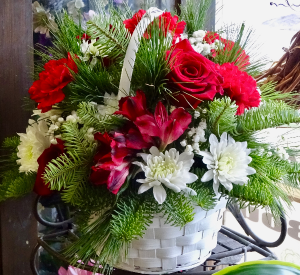 Classic Holiday Basket Holiday Centerpiece in Montgomery, NY | MONTGOMERY FLORIST
