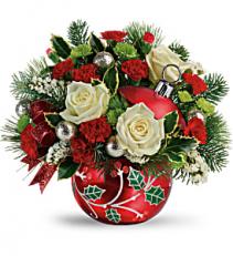 Classic Holly Ornament Floral Keepsake Arrangement