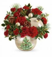 Classic Pearl Ornament Bouquet Christmas Arrangement