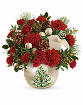 Classic Pearl Ornament Bouquet Fresh Flowers with Keepsake