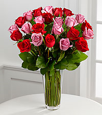 12, 18 or 24 Classic Pink and Red Rose Arrangement