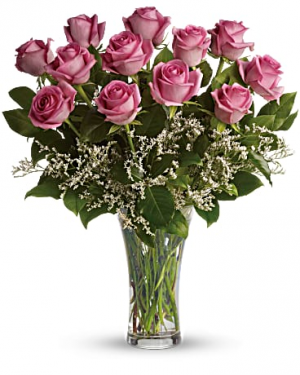 Classic Pink Dozen Roses  in Southern Pines, NC | Hollyfield Design Inc.