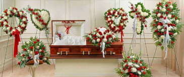 Classic red and white collection Funeral