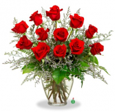Classic Red Dozen Rose Arrangement Roses