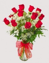 Classic Red Dozen Vase Fresh Arrangment