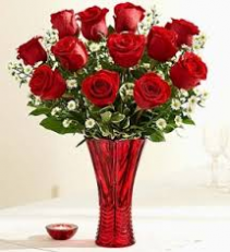 Classic Red in Red  Rose Arrangement
