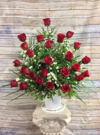 Classic Red Rose Tribute Basket