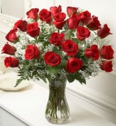 Classic Red Roses in Vase 2 Dozen