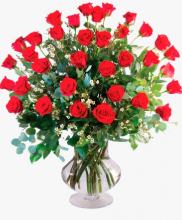 Classic Red Roses  Red Roses on the Glass Vase