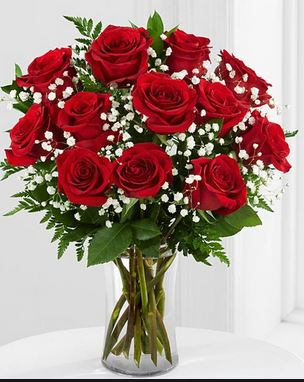 Classic Red Roses with Babies Breath