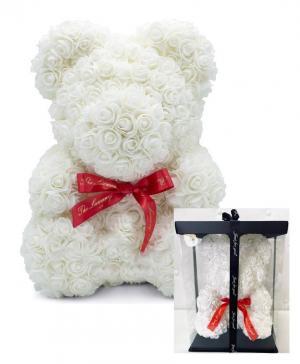 Large CLASSIC ROSE BEAR - WHITE  in Mcdonough, GA | Parade of Flowers