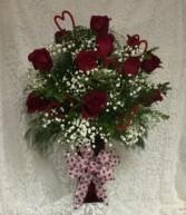 Classic Dozen Red Rose Arrangement red vase and trims