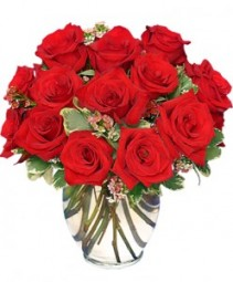 Classic Rose Royale 18 Red Roses Vase Bouquet