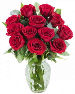 Classic Roses Arranged in a vase  6, 12, or 18 red roses in a vase in Windsor, ON | K. MICHAEL'S FLOWERS & GIFTS