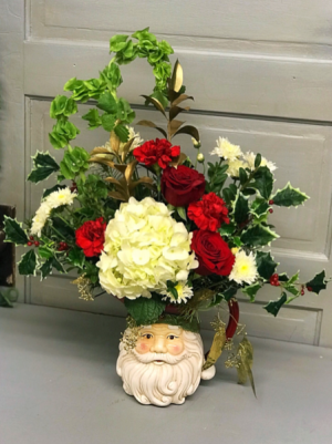 Classic Santa  Pitcher Arrangement  in Libby, MT | LIBBY FLORAL & GIFT