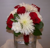 Classic Scarlet and Ivory Hand Tied Bouquet