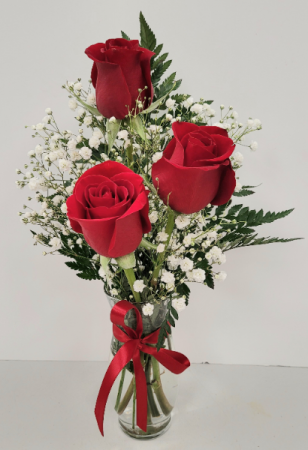 Classic Three Rose  Bud Vase