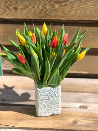 Classic Tulips Vase Arrangement