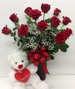 Classic Dozen Roses With Large Bear