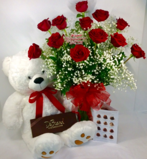 Classic Valentine Premium Rose Arrangement With Debrand Fine Chocolates and Bear in Troy, MI | DELLA'S MAPLE LANE FLORIST