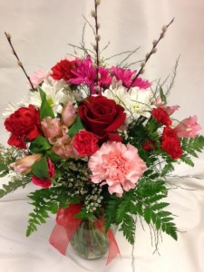 Classic Valentine's Medley Bouquet Vase Arrangement