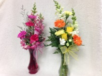 Classic Vase Arrangement  mixed flowers in glass vase