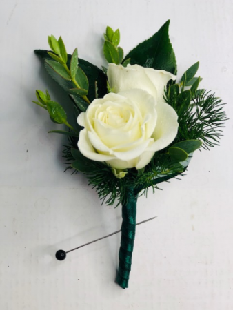 Classic White Rose Bout Boutonniere