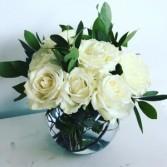 Classic white rose bowl Vase arrangement
