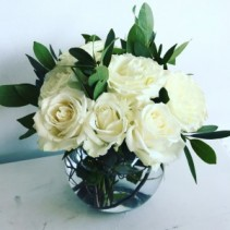 Classic white rose bowl Vase arrangement