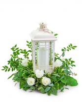 Classic White Rose Lantern Flower Arrangement