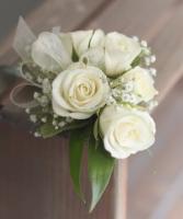 Classic White Rose Wrist Corsage  Prom