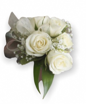Classic White Rose Wrist Corsage  Prom in Granada Hills, CA | GRANADA HILLS FLOWERS