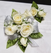 Classic white roses Wrist corsage and boutonniere