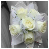 Classic White/Iridescent Sweetheart Prom Corsage