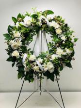 Classic White Wreath Spray Sympathy Standing Spray
