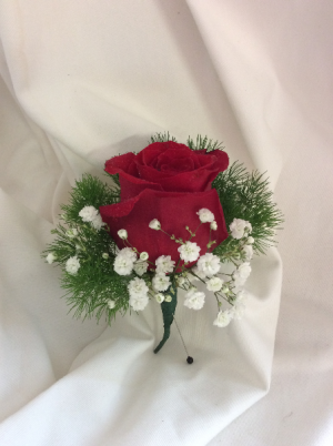 Classic Red  Boutonnier in Medfield, MA | Lovell's Florist, Greenhouse & Nursery