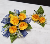 Classic Yellow Roses Wrist corsage and matching boutonniere