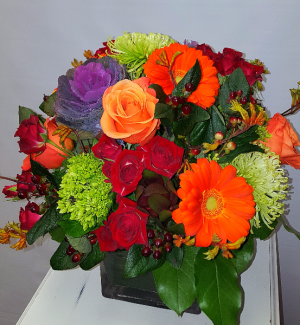 Classical Autumn Cube Arrangement in Chatham, NJ | SUNNYWOODS FLORIST